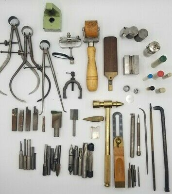 $44.99 • Buy Large Vintage Lot 57pc Machinist Tools, Drill Bit, Punches, Caliper Divider, Ect
