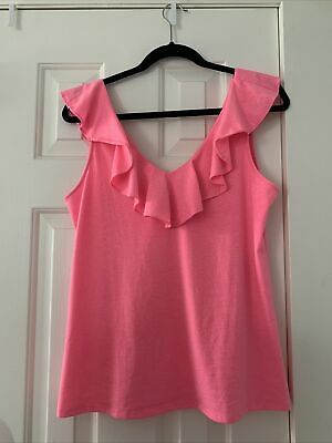 $31.99 • Buy Lilly Pulitzer Pink Tank Top With Ruffles Womens Size M