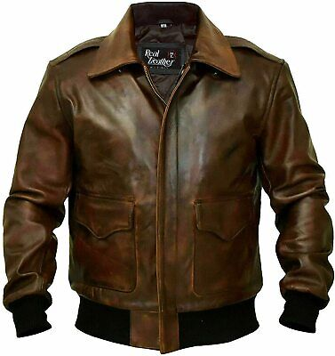 $99.99 • Buy A-2 G-1 Brown Bomber Aviator Men's Flight Navy Distressed Real Leather Jacket