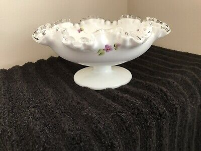 $18 • Buy Milk Glass Footed Bowl, Silvercrest, Hand Painted Violets, Ruffled
