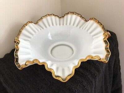 $13.50 • Buy Milk Glass Large Ruffled Amber Crest Bowl, Unmarked