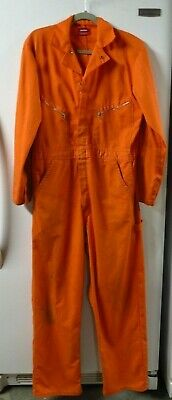 $15 • Buy Dickies Men's Orange Jump Suit Coverall Size 42 Long Zipper 50% Cotton Used Work