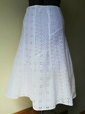 £8.99 • Buy Monsoon White Embroidered Broderie Anglaise A Line Cotton Midi Skirt 12 Lined Su