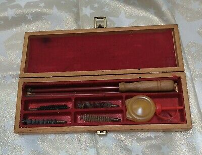 £22 • Buy Vintage Gun Cleaning Kit - Wooden Box With Rod And Four Attachments Plus Oil