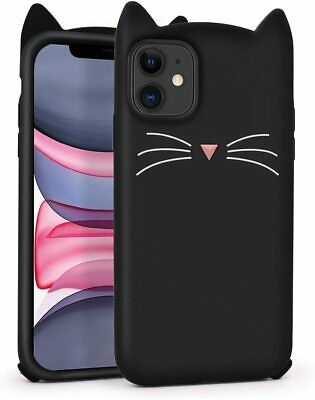 £14.41 • Buy Cute IPhone 11 Case, Funny Animals Black Whisker Cat Ears Kitty 3D Cartoon Soft