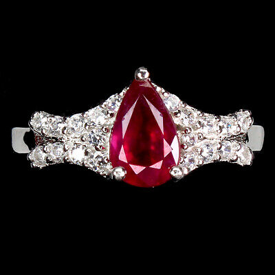 £6.12 • Buy Pear Red Ruby 7x5mm Cz 14K White Gold Plate 925 Sterling Silver Ring Size 8