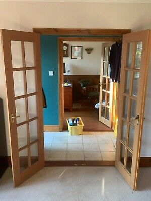 £40 • Buy A Pair Of Matching Glass Panelled Double Interior Doors In Light Wood Finish
