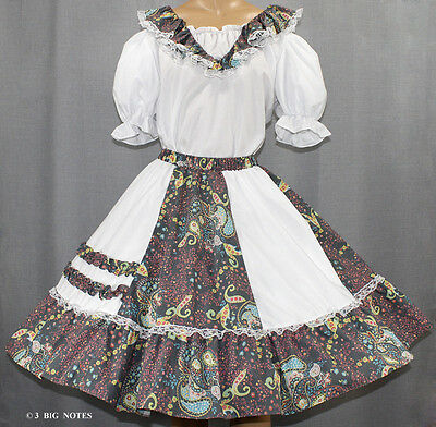 $34.95 • Buy White, Pink, Turqoise, Green Paisly Flower Square Dance Dress Size Medium