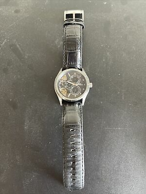 $35 • Buy Fossil Twist Silver Face Stainless Steel Black Leather Band Men's Watch