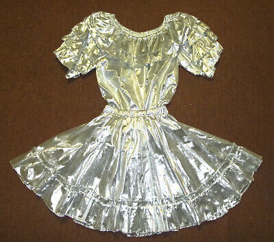 $31 • Buy Metallic Silver Lame Square Dance Outfit Sissy Dress Blouse Skirt W/ Petticoat