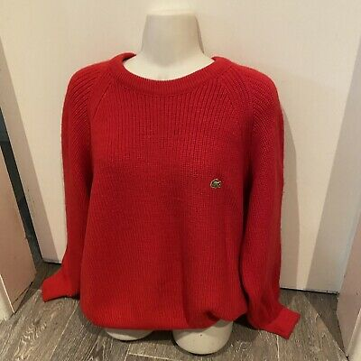 £37.07 • Buy Vintage Lacoste Jumper Cable Knit Sweater Red Size 16/L V Neck Slouchy Trendy
