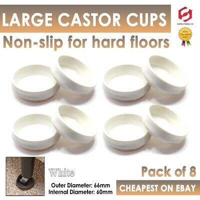 £2.99 • Buy 8x Castor Cups NON MARKING Large White Round Furniture Floor Leg Cap Feet Ends