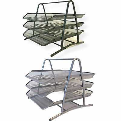 £9.89 • Buy 3 Tier Mesh Document Tray Letter Paper Trays Desk Tidy Metal Organiser 2 Colours