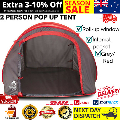 AU64.99 • Buy 2 Person Pop Up Beach Tent Camping Hiking Shelter W Roll Up Window & Carry Bag