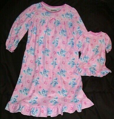 £6.47 • Buy Blue's Clues Pink & Blue Nightgown & Matching Doll Gown-nickelodeon-size 4t-nwt