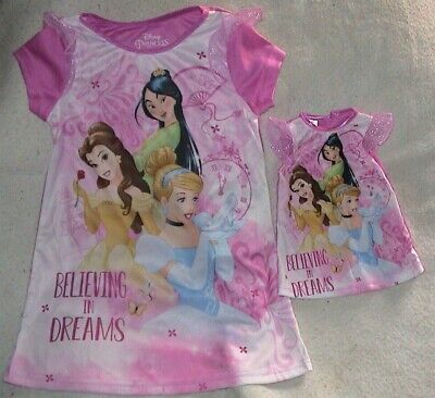 £5.75 • Buy Believing In Dreams-disney Princess Nightgown & Matching Doll Gown-size 3t-nwt