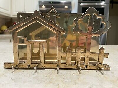 $21 • Buy Brass Key & Mail Holder Vintage 5 Hooks Wall Hanging Entry Way House And Tree