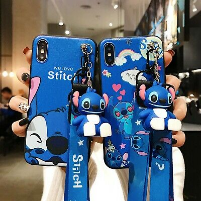 AU6.64 • Buy Cute 3D Cartoon Stitch Doll Pendant Stand + Strap Case Cover For Various Phone