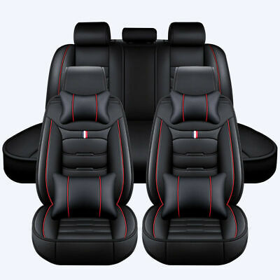 £9.99 • Buy Universal Full Set Car Seat Covers Front And Rear Cushions Leather Pad Black Red