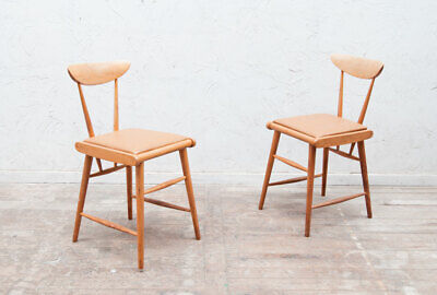 £150 • Buy 2 Beech Stick Back Desk Dining Chair Mid Century Vintage Pair Retro Delivery
