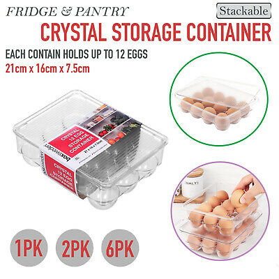 AU15.95 • Buy 1/2/6 Crystal Egg Container Fridge Pantry Storage Clear Stackable Organiser Tray