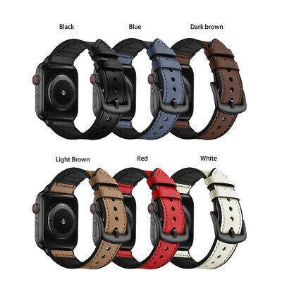 $ CDN9.97 • Buy Genuine Leather Silicone Band For Apple Watch Series 2/3/4/5/6/SE 38/40/42/44mm