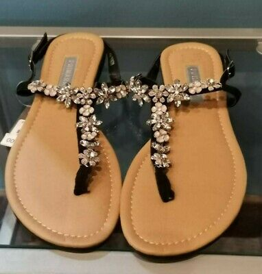 £8.95 • Buy Primark UK Size 4 Black Silver Beaded Flowers Toe Post Sandals Shoes New