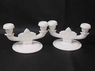$39.99 • Buy 2 Vintage 2 Lite White Milk Glass Buttons & Bows Candle Stick Holders