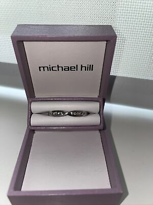 AU599 • Buy Michael Hill Wedding Band With Diamonds In 10ct White Gold RRP$699