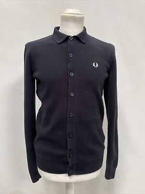 $27.81 • Buy Mens Fred Perry Navy Collared Cardigan Button Up Long Sleeve Knit Size Small L13