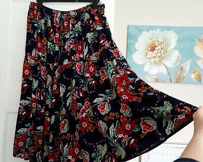 £8.95 • Buy BEAUTIFUL VINTAGE FLORAL 'CHEESECLOTH' BOHO HIPPIE GYPSY TIERED MAXI SKIRT Sz 24