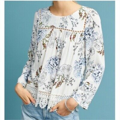 $ CDN35.10 • Buy $98 Anthropologie Maeve Women's Floral Lace Trim Long Sleeve Top XS