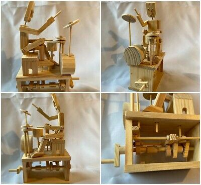 £10 • Buy Automaton Mechanical Wooden Drummer Hand Wound Works Well Great Piece