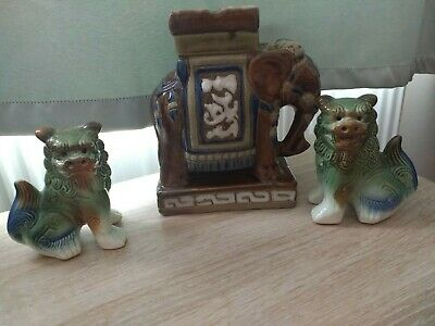 £15.99 • Buy Chinese Ceramic Foo Dogs And Elephant