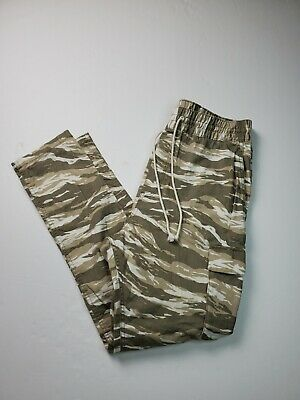 $28 • Buy Divided H&M Mens Cotton Jogger Camo Cargo Drawstring Pants Size 34 Stretch