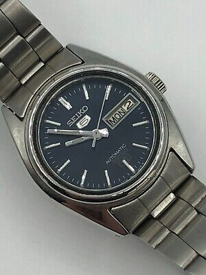 £20 • Buy Vintage Seiko 5 Automatic 4206-0500 Day Date Blue Dial Silver Tone Watch Working
