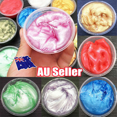 AU13.96 • Buy Clear Crystal Slime Clay Mud Shimmer Pearly-luster Slime Soft Puzzle Toy 50ml TK