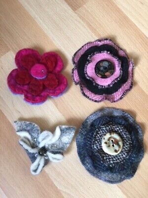 £25 • Buy Four Corsage Pins (made From Felt And Tweed)