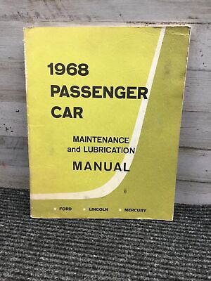 $9 • Buy Used 1968 Ford Lincoln Mercury Passenger Car Maintenance And Lubrication Manual