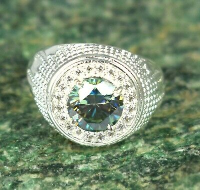 $1.04 • Buy  4.15 Ct Green Diamond Solitaire 925 Sterling Men's Ring
