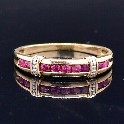 £195 • Buy Vintage 9CT Yellow Gold Ruby Half Eternity Ring Band Size O (UK) 7(US) Lot:796