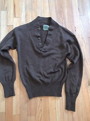 $10 • Buy Vintage Military High-Neck Button Pullover Sweater Wool Slim L (M)