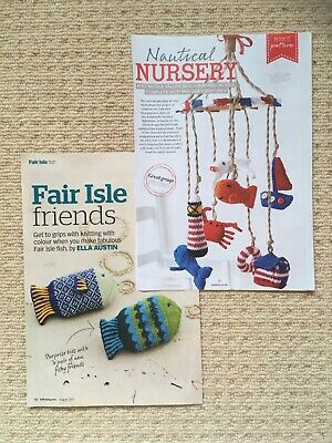 £1 • Buy NAUTICAL NURSERY MOBILE & FAIR ISLE FISH KNITTING PATTERNS - Toys Or Decorations