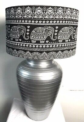 £50 • Buy Large Silver Urn Table Lamp With Handmade Ethnic Elephant Shade