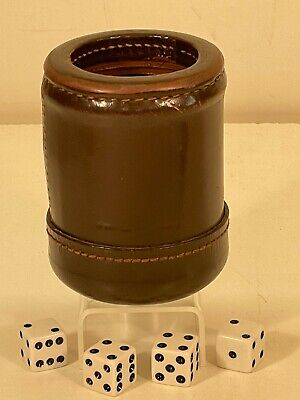 £13.67 • Buy Vintage BROWN Stiched Leather DICE SHAKER CUP