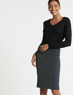 £10.99 • Buy EX M&S Easy On Textured Jersey Navy And Ivory Polka Dot Pencil Skirt Size 12