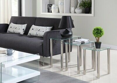 £42.99 • Buy Nest Of 3 Tables Clear Glass Side Accent End Table Chrome Legs Living Room
