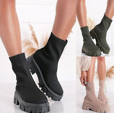 £20.99 • Buy Ladies Womens Flat Chunky Platform Sole Chelsea Slip On Sock Ankle Boots Shoes