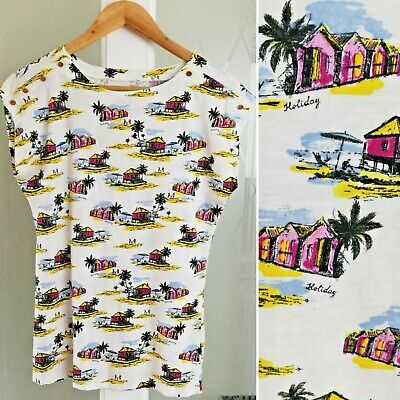 £6.99 • Buy Tropical Beach Print Top 8 T-Shirt Cap Sleeve Buttons Ivory Palm Trees Holiday