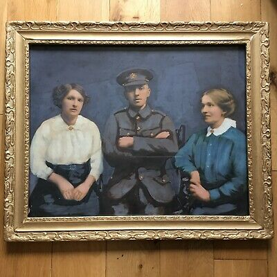 £125 • Buy Antique Large WW1 British Army Soldier With Family Photo Portrait Over Painting